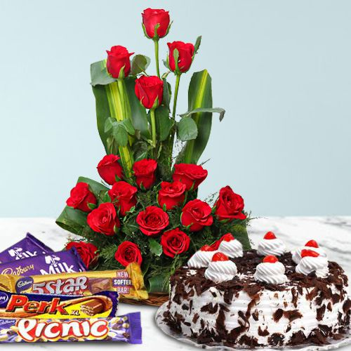 Book Chocolate Day Gift of Cadbury Celebration with Roses N Cake