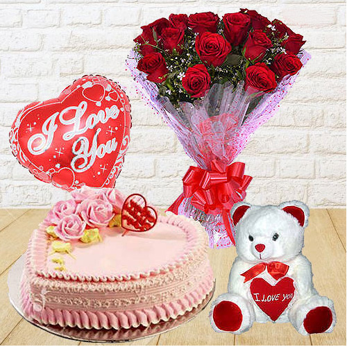 Gift Red Roses Bunch with Teddy, Love Cake N Balloon Online
