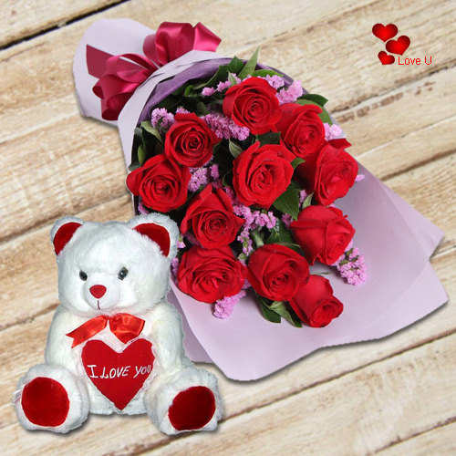 Deliver Teddy Day Surprise of Red Roses Bouquet with soft Teddy
