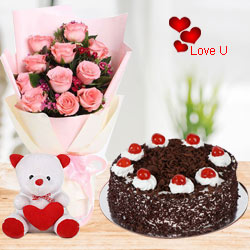 Cute Pink Roses with Cake n Teddy Bear