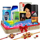 Bright Little Luxury Pamper Hamper with 2 Rakhis and Roli Tilak Chawal