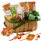 Delectation�s Choice Dry Fruits Assortment with Two Rakhis and Roli Tilak Chawal