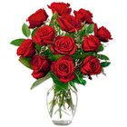 Captivating Red Roses in a Vase with Love to Bhalaswa