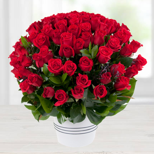 Luminous Red Roses Bouquet