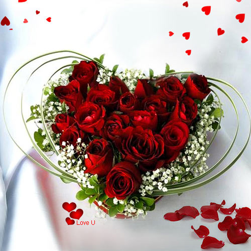 Buy Dutch Roses in Heart Shaped Arrangement for V-day