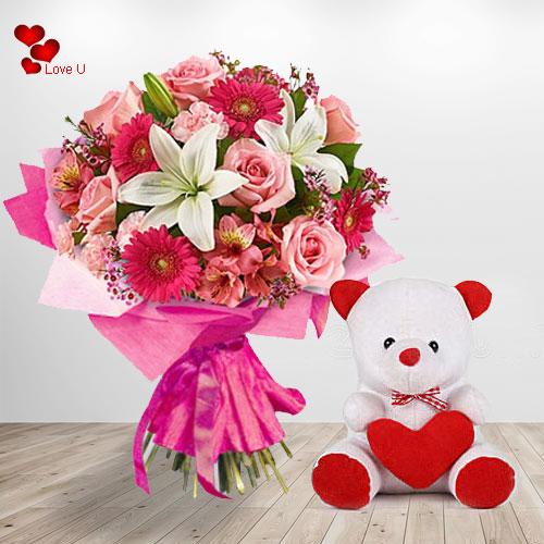 Online Teddy Day Gift of  Flowers N Teddy Basket