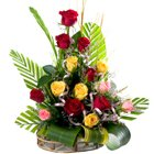Glorious 15 Mixed Roses in a Beautiful Bouquet to B-1 Janak Puri