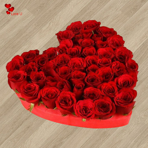 Gift Heart Shaped Arrangement of Dutch Roses Online