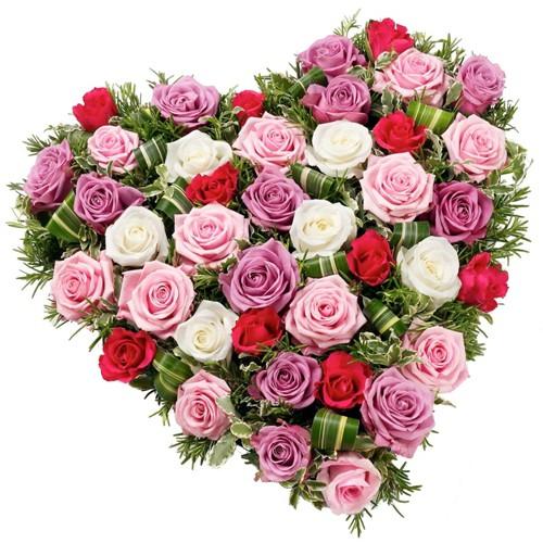 V-Day Arranged Heart Shape of Mixed Roses