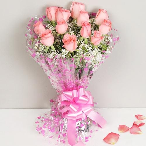 Classic 12 Dutch Pink Roses Bunch with Happiness