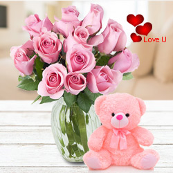 12 Pink Roses in Vase with 6 inch Teddy