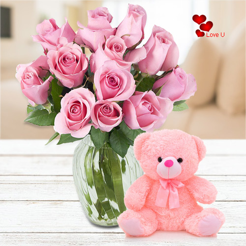 Order Combo of Pink Roses N Teddy Online