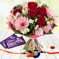 Rhapsodic Blossom Olio with 2 Dairy Milk Chocolate with Rakhi and Roli Tilak Chawal