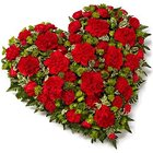 Scintillating 24 Red Carnations in Heart Shape to Nathupura