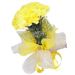 Online Order Bouquet of Yellow Carnations