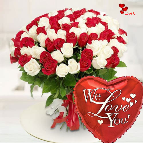 Order Online Bouquet of Red N White Roses for Valentines Day