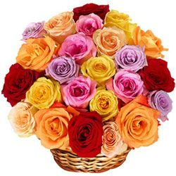 Deliver Mixed Roses in a Basket