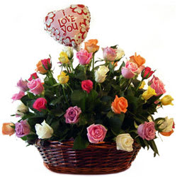 Online Mixed Roses Bouquet with Balloons