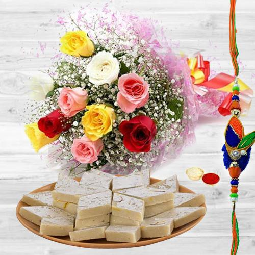 Unique You are Always Special Premium Bouquet with 250 Kaju Katli and Rakhi