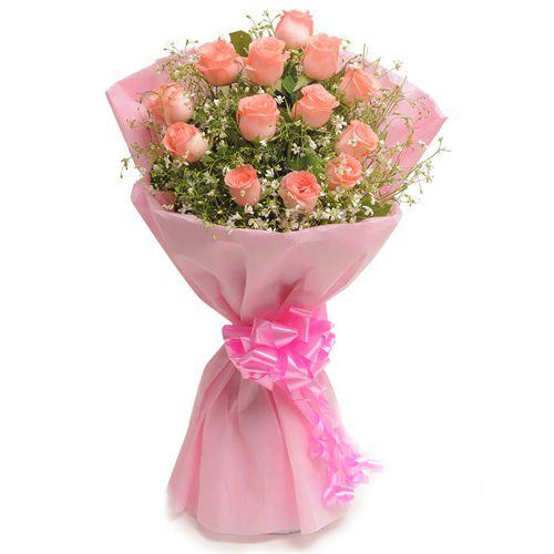 Online Deliver Pink Roses Bouquet
