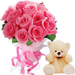 Book Pink Roses Bouquet N Teddy Online