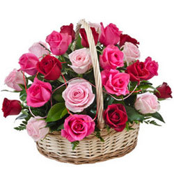 Buy Pink N Red Roses Basket Online