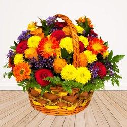 Multi-Colored Seasonal Flower Basket With Fillers