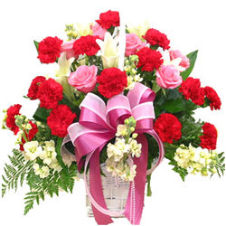Shop Online Red Carnations N Pink Roses Basket