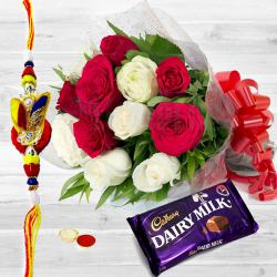Magnificent Rosy Ecstasy One Dairy Milk (13 gms.) with One pc. Rakhi