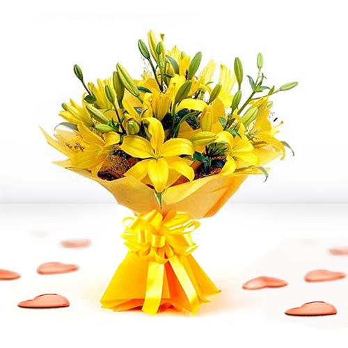 Order Yellow Lilies Bouquet Online