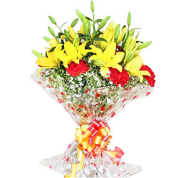 Online Bouquet of Lilies N Carnations