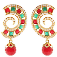 Remarkable Stone Studded Pearl Earring Set