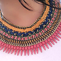 Innovative Pack of Embroidered Pendent with Cotton Braided Necklace