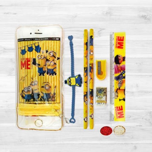 Rakhi with Minions Stationery Set