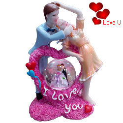 Elegant I Love You Couple with LED Lighted Crystal Globe Showpiece