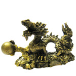 Gold Plated Feng-Shui Dragon holding a Ball Statue