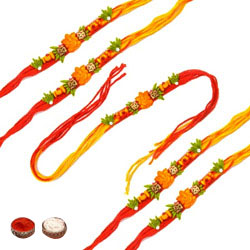 Adorable Five Rakhi Set
