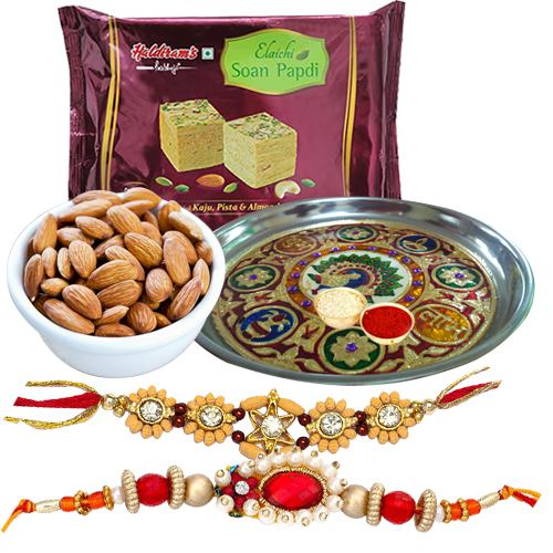Pleasing Combo Of 2 Rakhi Set, Meenakari Thali With Soan Papdi And Almonds