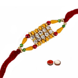 Attractive 1 White Beaded Rakhi