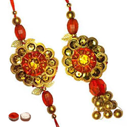 Stunning One Bhaiya Bhabhi Rakhi Set in Round Shape