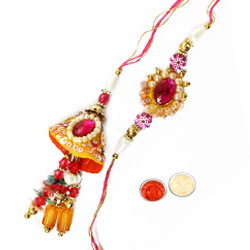 Enticing One Bhaiya Rakhi N Bhabhi Lumba Set in Round Shape