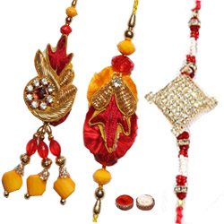 Fascinating 2 Bhaiya  Rakhi and 1 Bhabhi Rakhi Set