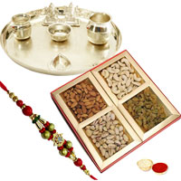 Fascinating Silver Plated Thali, Mixed Dry Fruits, Rakhi with Festive Look