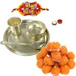 Silver Plated  Thali Set with Rakhi and Ladoo and Roli Tilak Chawal