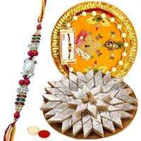Exotic Multicolored Rakhi with Kaju Katli Bites