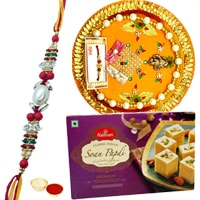 Soan Papri from <font color=#FF0000>Haldiram</font> and Rakhi Thali along Rakhi, Roli Tilak and Chawal