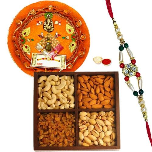 Auspicious Celebration Special Rakhi, Pooja Thali with Dry Fruits