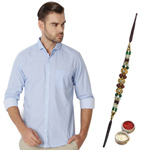 Formal Peter England Shirt and Rakhi Gift Pack