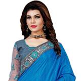 Glowing Charisma Blue Mono Net Silk Saree