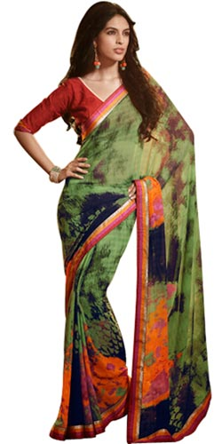 Extravagant Olive Green Faux Georgette Saree